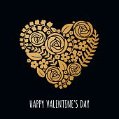 Valentine's Day Card message with golden heart in paper cut.