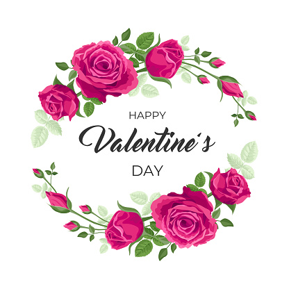 Valentines day card. Vector illustration, design with red, pink roses and text Happy valentine's day. Wreath, frame with leaves, roses for romantic holidays. concept of cute floral Valentines.