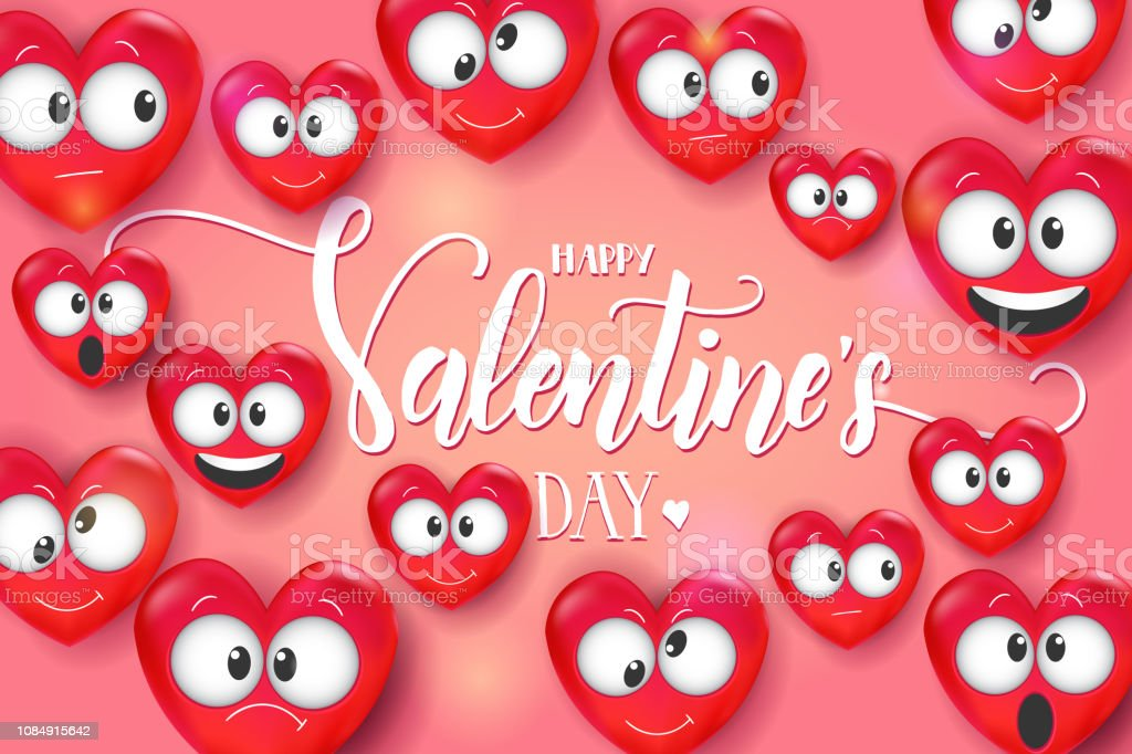 Valentines Day Card With 3d Love Emoji On Pink Background