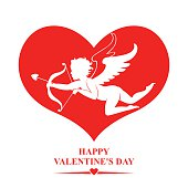 Valentines day card with Cupid in red heart