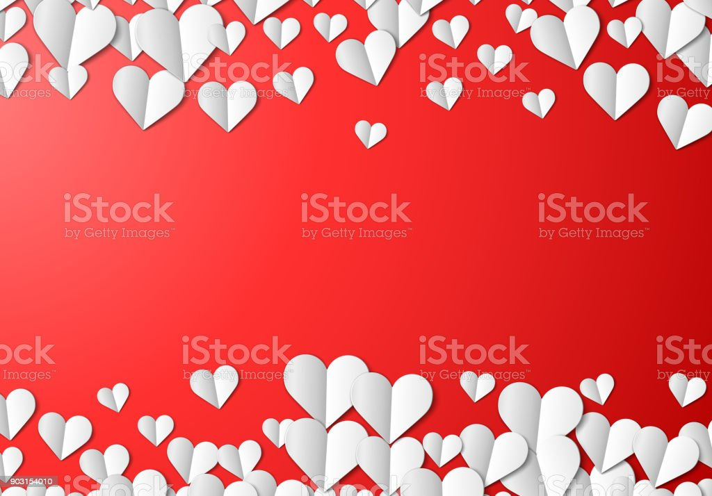 Valentines Day card with cut paper hearts royalty-free valentines day card with cut paper hearts stock illustration - download image now