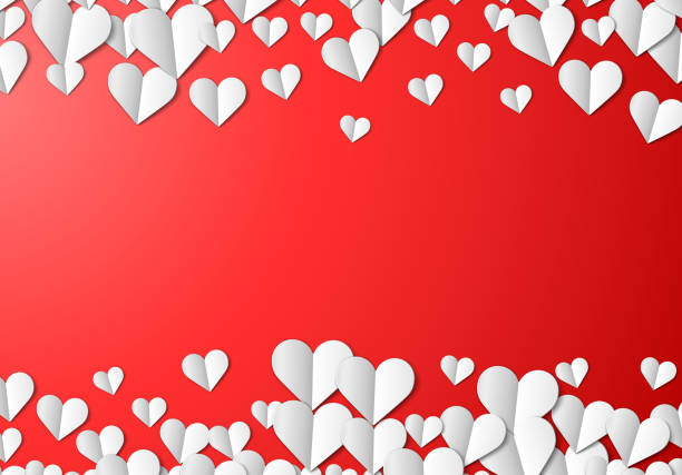 Valentines Day card with cut paper hearts vector art illustration