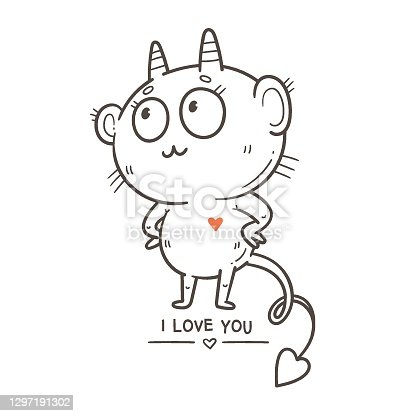 istock Valentine's day card with cute cartoon imp. Greeting print with doodle funny animal. Line art poster for children. Vector holiday illustration. 1297191302