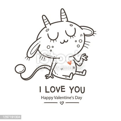istock Valentine's day card with cute cartoon imp. Greeting print with doodle funny animal. Line art poster for children. Vector holiday illustration. 1297191304