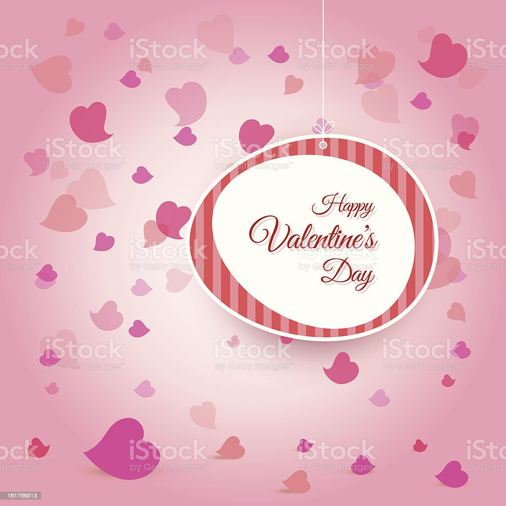 Valentine's Day Card with falling hearts background royalty-free stock vector art
