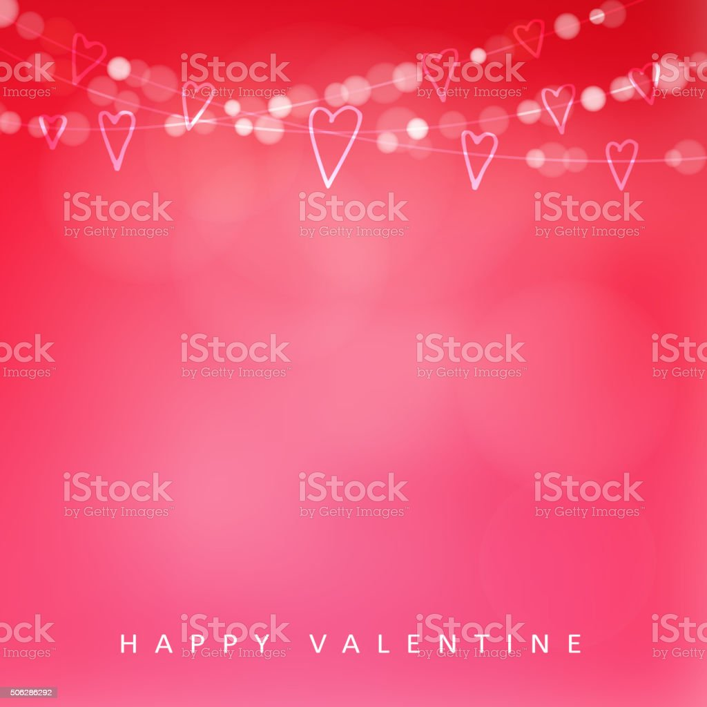 Valentines day card with garland of lights and hearts, vector vector art illustration