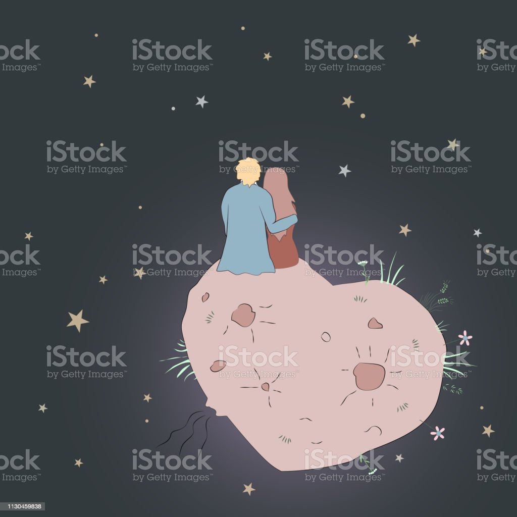 Vector Valentines Day card with girl and guy looking at the star.s...