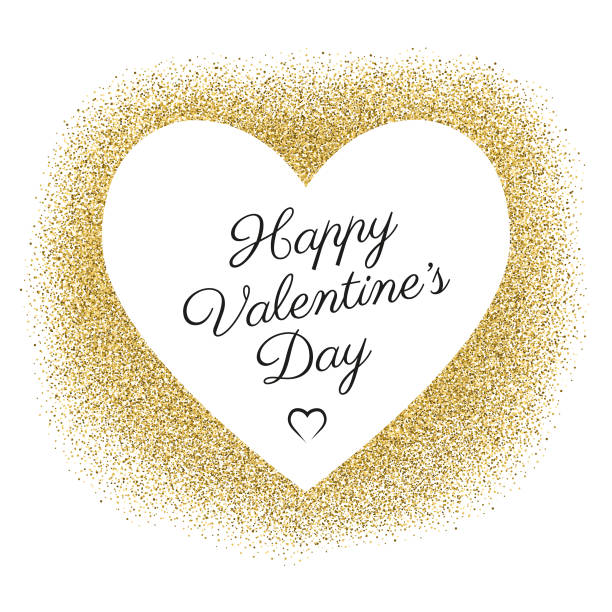 Valentine's Day Card With Golden Glitter vector art illustration