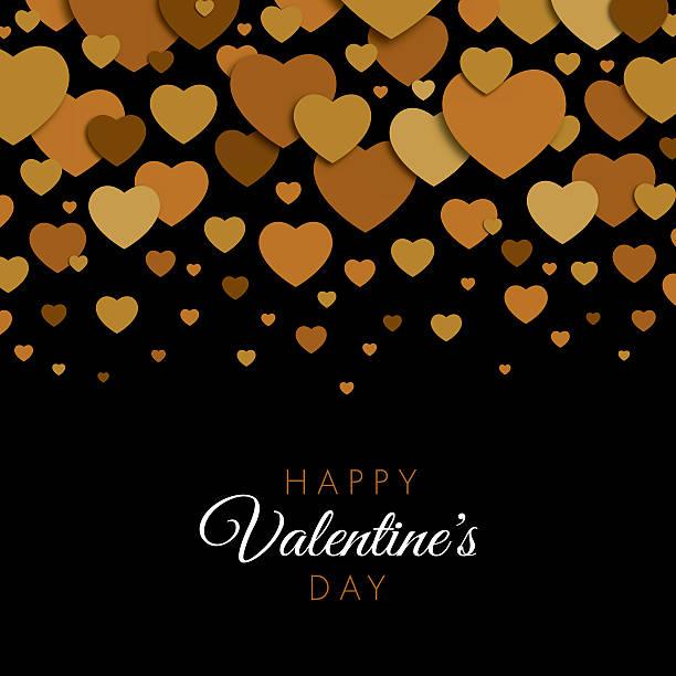illustrazioni stock, clip art, cartoni animati e icone di tendenza di valentine's day card with golden hearts - love word