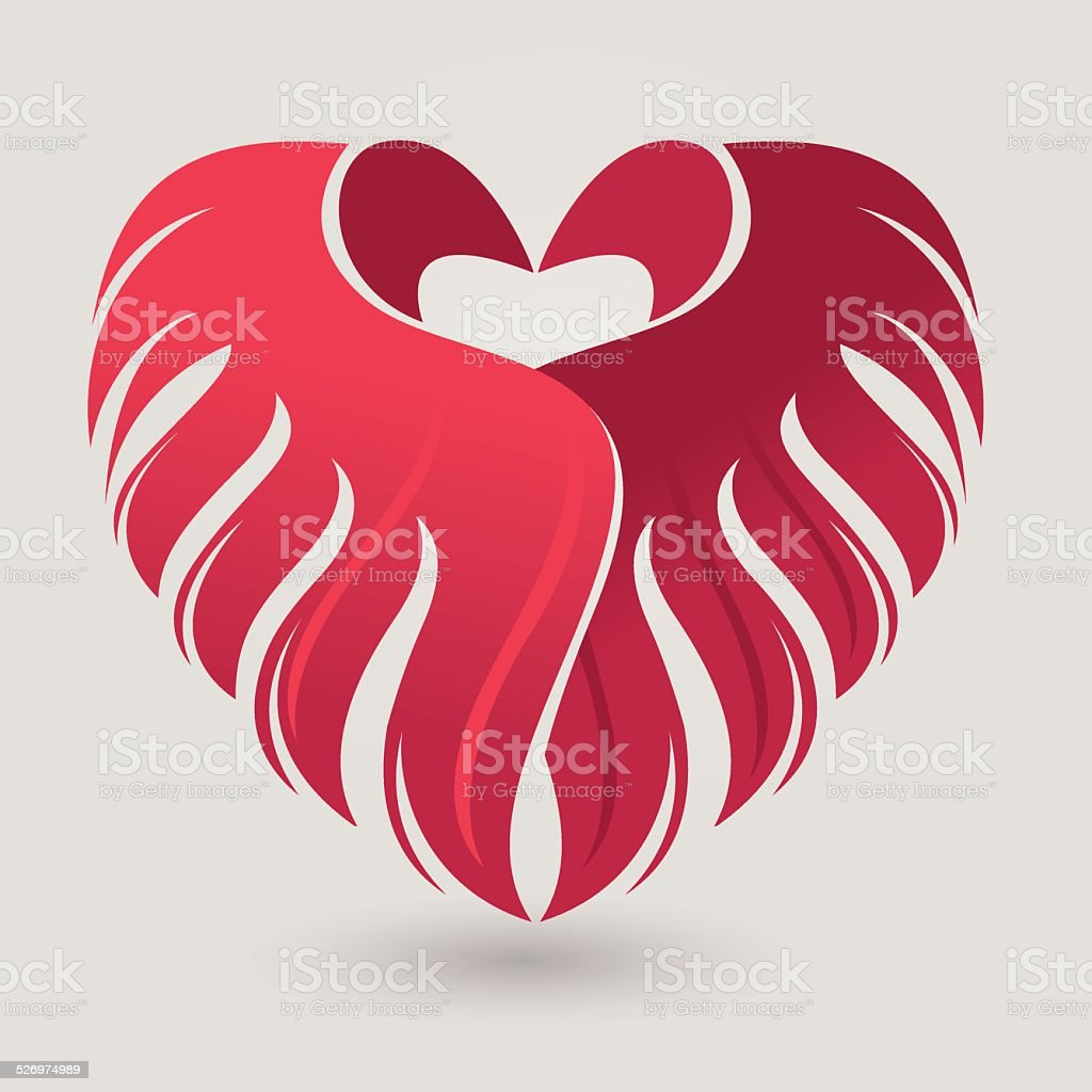 Valentine's Day card with heart and wings vector art illustration