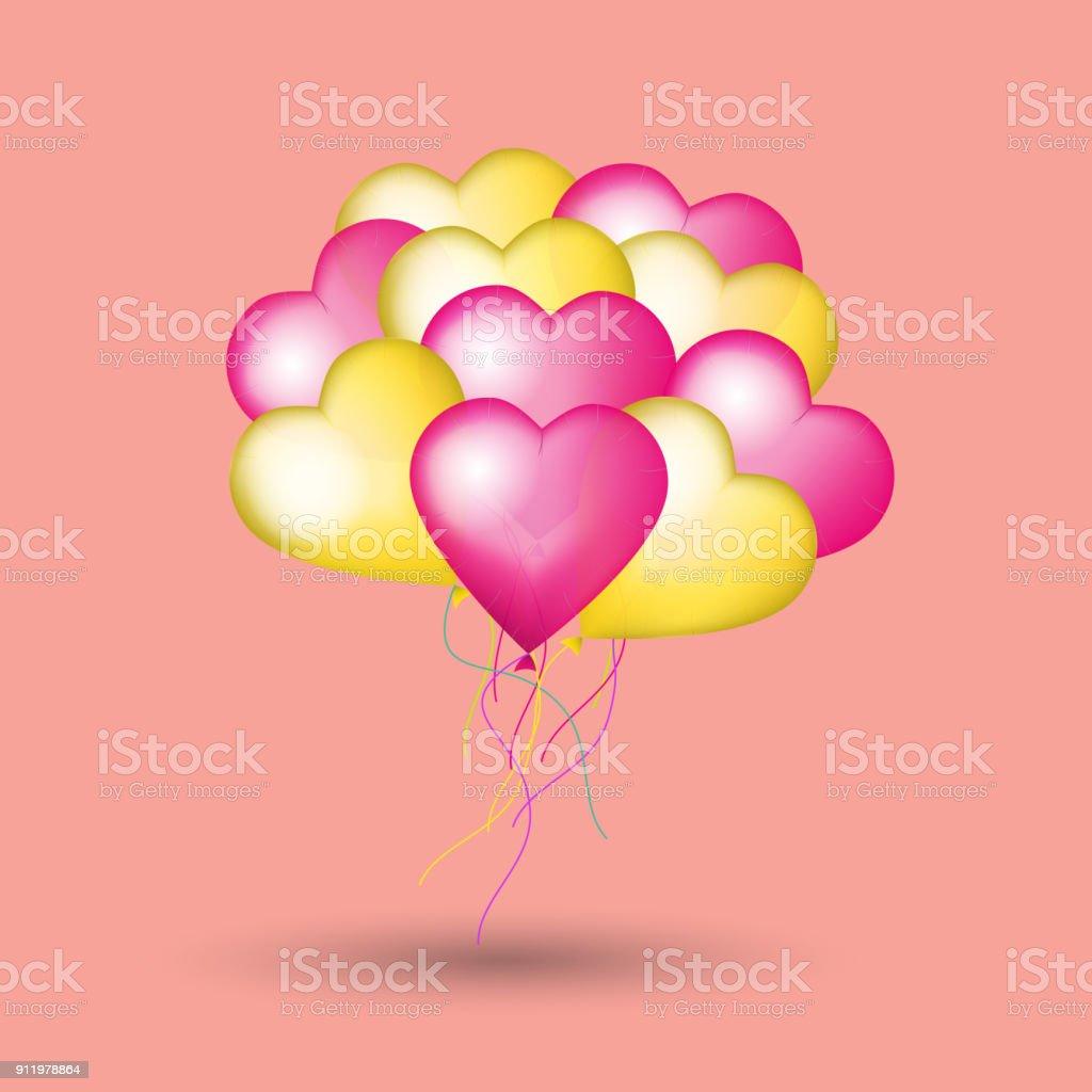Karte Zum Valentinstag Mit Herz Luftballons 3d Vektorillustration ...