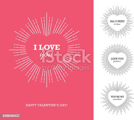 istock Valentine's day card with heart shaped frame and sunburst 638699502
