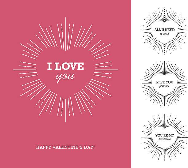 illustrazioni stock, clip art, cartoni animati e icone di tendenza di valentine's day card with heart shaped frame and sunburst - motivo concentrico