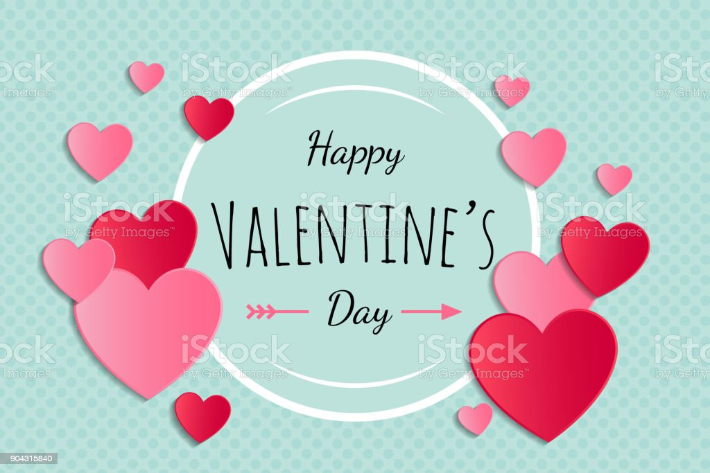 Valentine's Day - card with hearts and greeting. Vector.