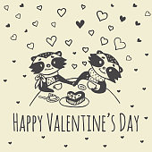 Valentines Day card with illustrated raccoon couple drinking tea. Vector illustrated colorful raccoon couple on beige background.