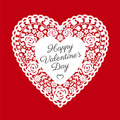 Valentine's Day Card with paper cut heart - Illustration