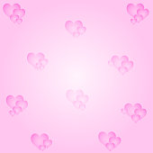 Vector Valentine's Day Card With Pink Color Background And Pink Hearts