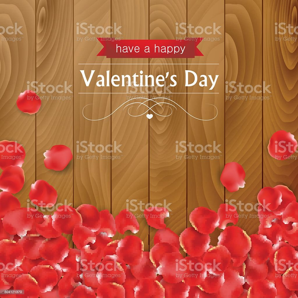 Valentines day card with rose petals vector art illustration