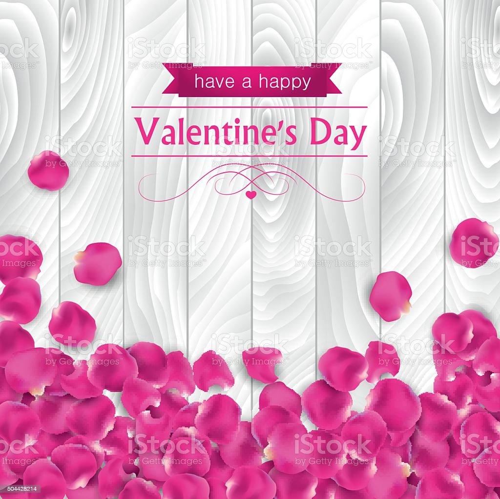 Valentines day card with rose pink petal vector art illustration