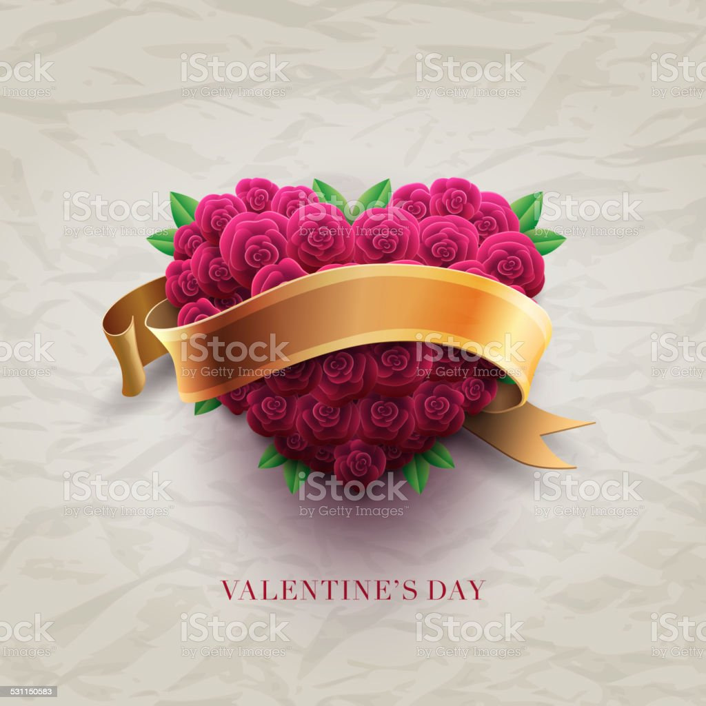 Valentine's Day Card with roses vector art illustration