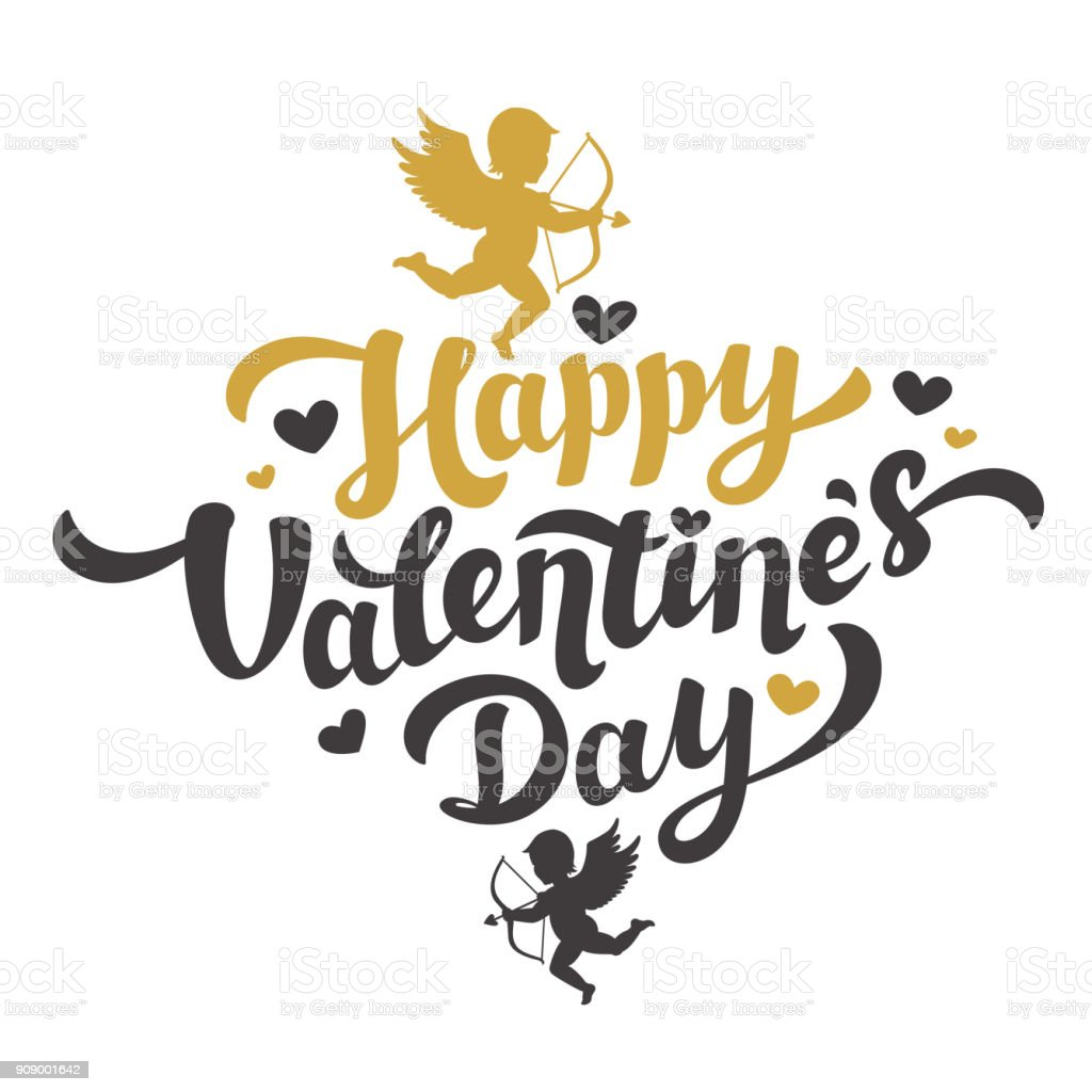 Valentines Day card with the image of Cupid silhouette. Happy Valentines Day Lettering. 14th of february greeting card. Black and gold inscription with hearts and angels on white background