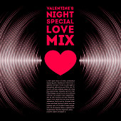 Night themed Valentine's Day card with vinyl tracks and red heart. All font licenses are checked.