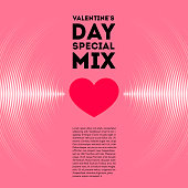 Valentine's Day card with pink vinyl tracks and red heart