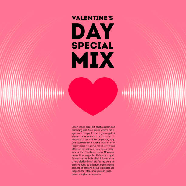 valentine's day card with vinyl tracks and heart - sine wave stock illustrations