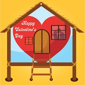 valentines day cards kissing on window in Happy house