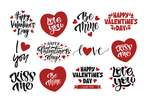 Valentines Day celebration lettering set. Vector template for greeting card.