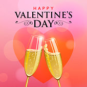 Celebrate the Valentine's Day with champagne toast for Dating Party on the pink colored background