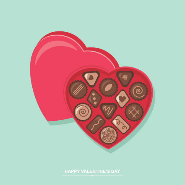 valentine's day chocolate candy heart box - chocolate stock illustrations