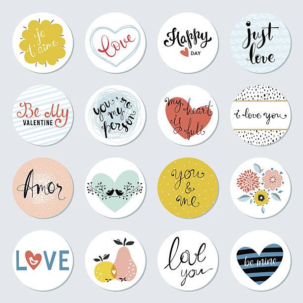 valentines day circles design set - 花のボーダー点のイラスト素材/クリップアート素材/マンガ素材/アイコン素材