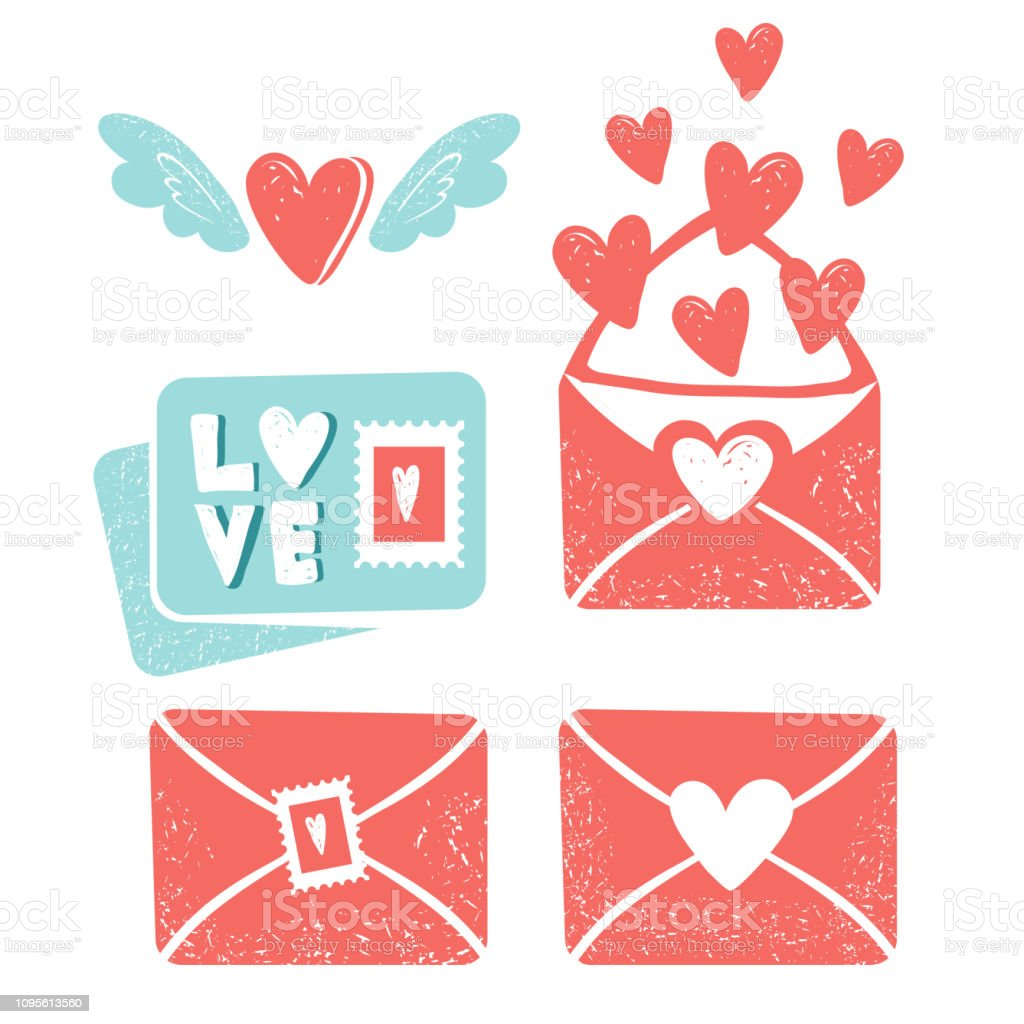 Valentine\'s day clip art. Envelope with hearts, stamps and hearts,...