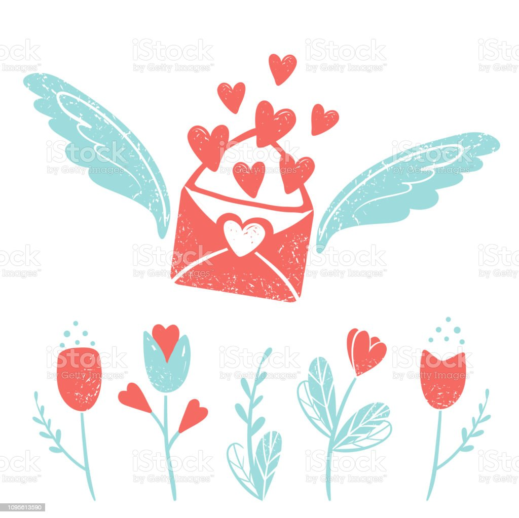 Valentine\'s day clip art. Envelope with wings and hearts, flowers,...