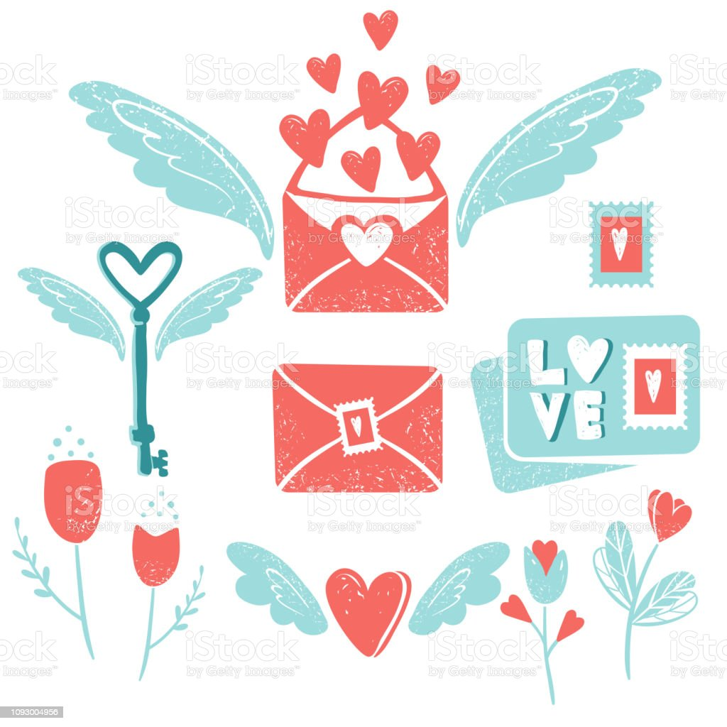 Valentine\'s day clip art. Envelope with wings and hearts, flying key...