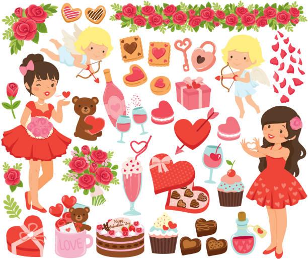 Valentines Day clipart set vector art illustration