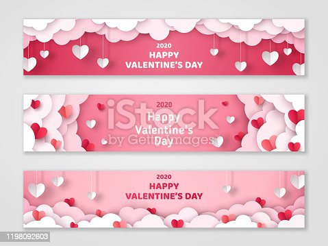 Happy Valentine's Day horizontal banners set with paper cut clouds and hearts. Vector illustration. Holiday bright greeting cards, love creative concept, gift voucher, invitation. Place for text.