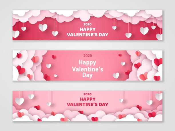 valentines day cloud banners - valentines day stock illustrations