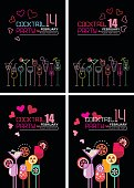 Valentine's Day cocktail party posters. Vector mock up with various cocktail glasses on a black background. Four cocktail party posters options.