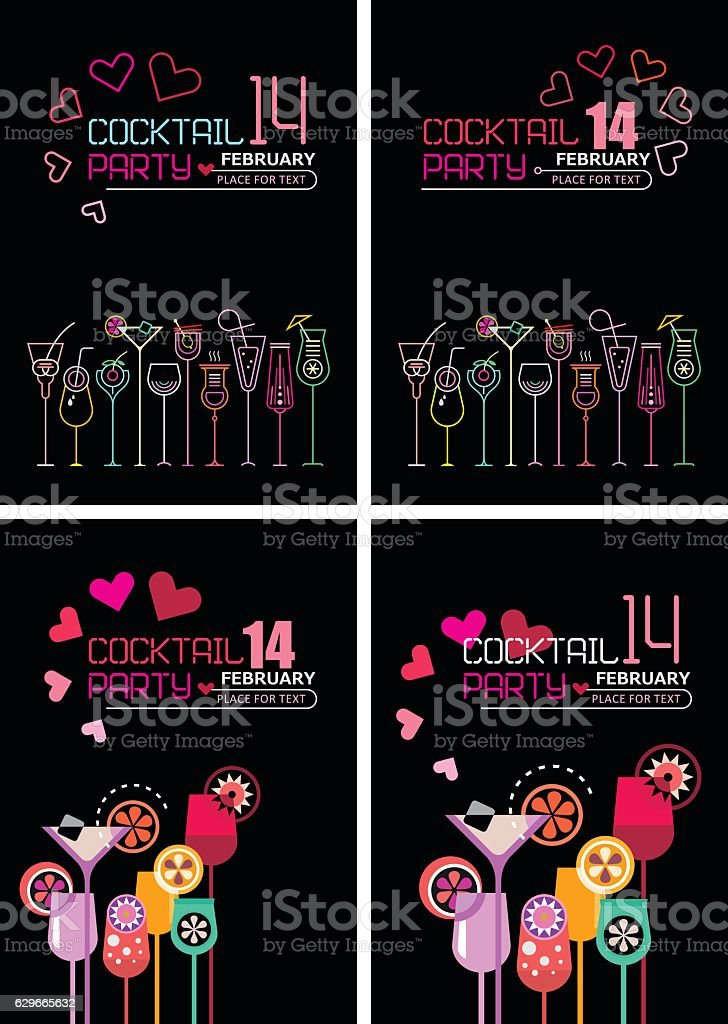 Valentine's Day Cocktail Party Poster - Illustration vectorielle