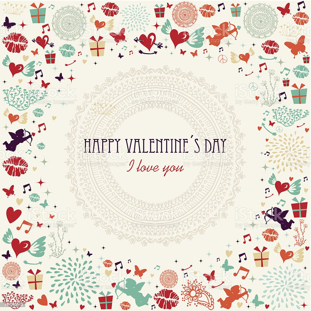 Valentine`s day colorful greeting card royalty-free stock vector art