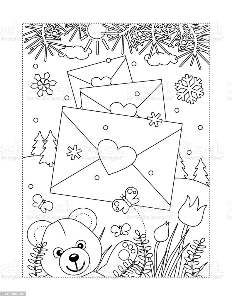 Valentines Day Coloring Page Stock Illustration - Download Image
