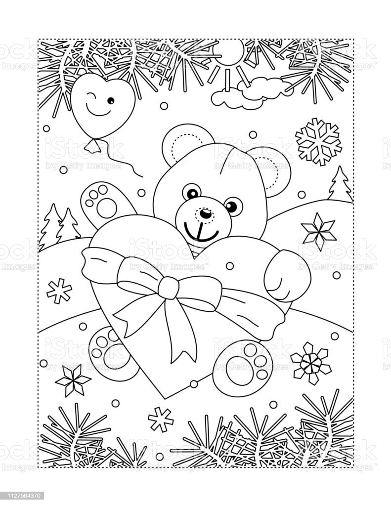 valentines day coloring page stock illustration download image