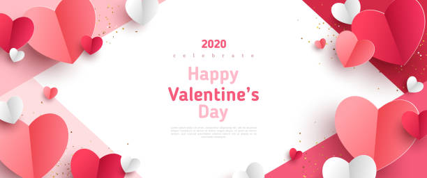 Valentines day concept frame Valentine's day concept frame. Vector illustration. 3d red and pink paper hearts on geometric background. Cute love sale banner or greeting card valentine card stock illustrations