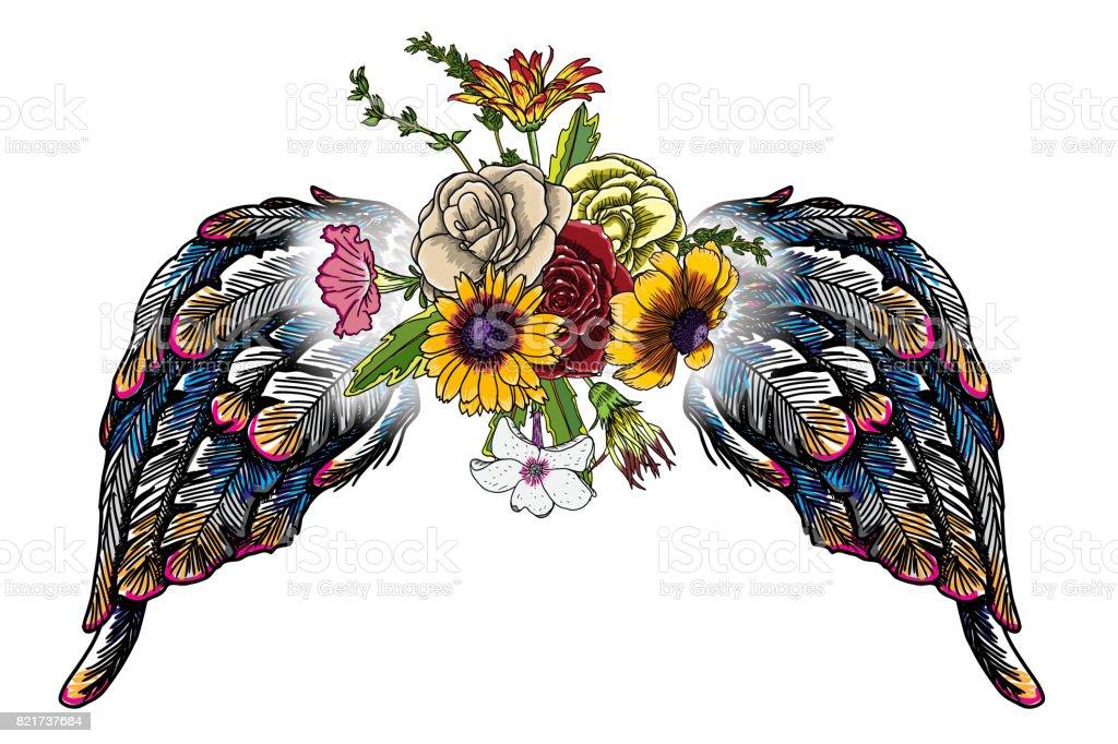 Valentin Concept Affiche Avec Ailes Ange Et Oiseau Dessin De Main Et