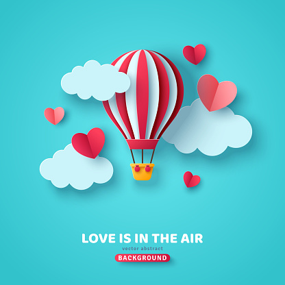 Valentine's day concept background with hot air balloon, hearts and clouds. Vector illustration. Cute love sale banner or greeting card. Honeymoon and wedding adventure.