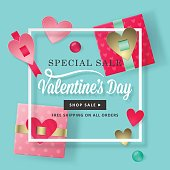 Valentines day concept with modern gift boxes realistic vector illustration. Social media banner design for sale promotion and advertising