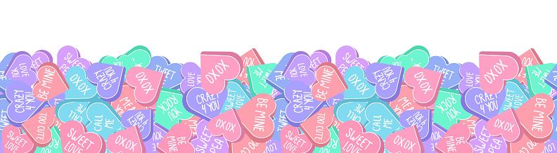 Valentines Day conversation hearts seamless pattern