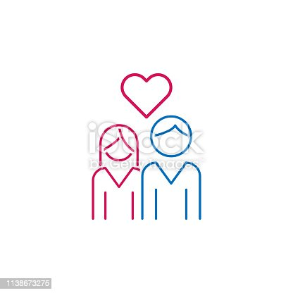 Valentine's day, couple, love, heart icon. Can be used for web, logo, mobile app, UI, UX on white background